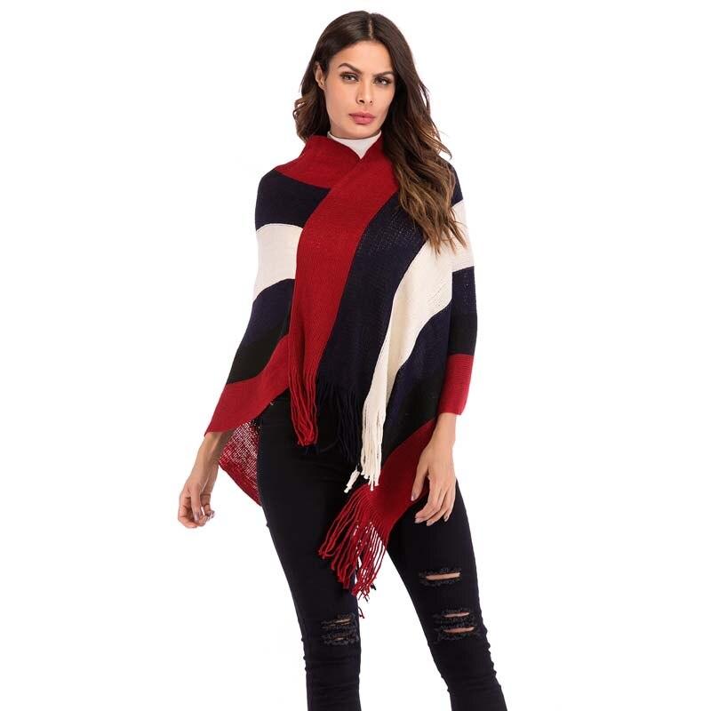 2018 Otoño Invierno mujer abrigo suelto sobredimensionado tejido Cachemira Poncho capa chal doble cárdigans suéter con borla
