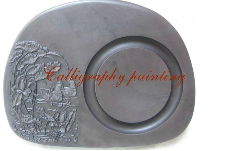 7 pulgadas chino Zhaoqing Duan Yan tinta de piedra tallada mandarín pato Inkstone 7865