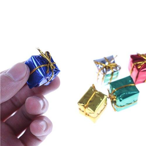 10x 3D Miniature Wood Doll house Mini Christmas Cube Gift Box wedding box Dollhouse Furniture Kits Toys for Girl Christmas Gift