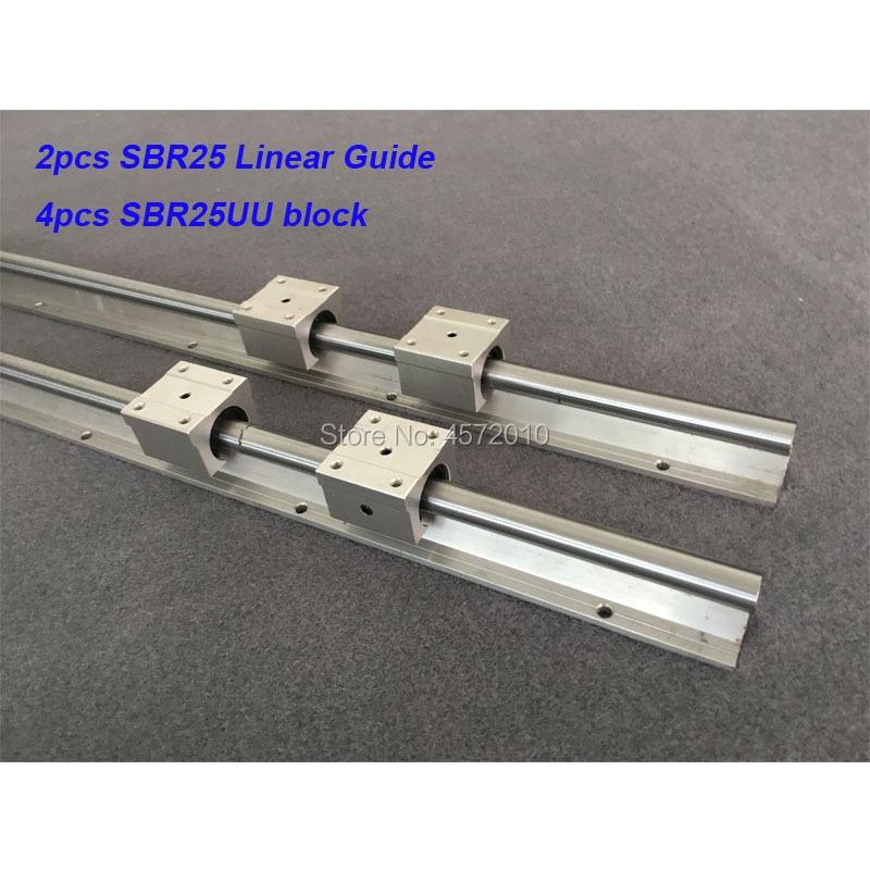 2 قطعة SBR25 25 مللي متر خطي السكك الحديدية 400 مللي متر 450 مللي متر 500 مللي متر 550 600 مللي متر دليل خطي مع 4 قطعة SBR25UU كتلة cnc جزء