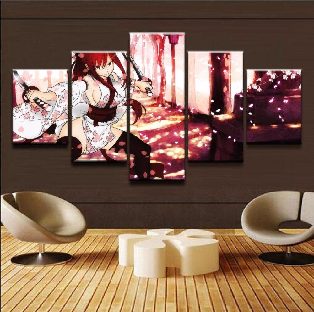 Arte Decorativo de hogar, póster de Anime, pintura de pared, 5 piezas, un conjunto, Erza Scarlet Fairy Tail, cuadros modulares, impresión en lienzo