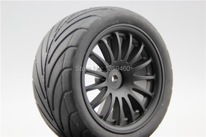 Neumáticos de Buggy pre-pegados 4 Uds 1/10 (en carretera) 15 radios 15% Nylon reforzado rueda negra se adapta a 1:10 4WD Buggy Car 1/10 Tire