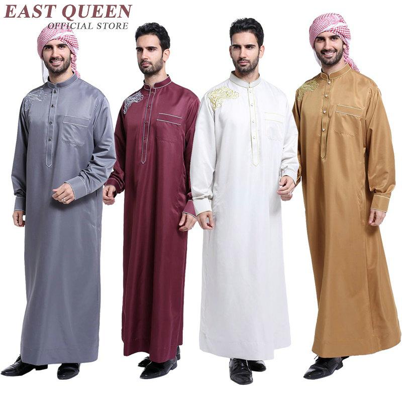 2018 nova manga comprida vestuário muçulmano para homens cor sólida dos homens muçulmanos thobe muçulmano roupas jubba robe kafan S-XXXL AA2388 YQ
