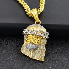 Statement Bling Rhinestone Jesus Avatar Pendant Necklaces Women Men Hip Hop Jewelry Fashion Cuban Gold Long Chain Necklace