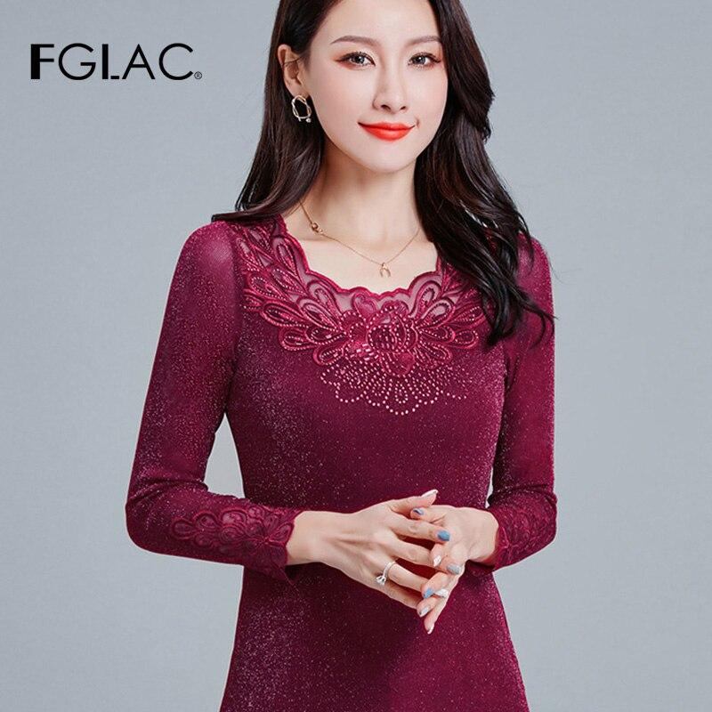FGLAC 4XL plus größe frauen t-shirt Mode casual langarm aushöhlen t hemd aushöhlen Diamant frauen tops