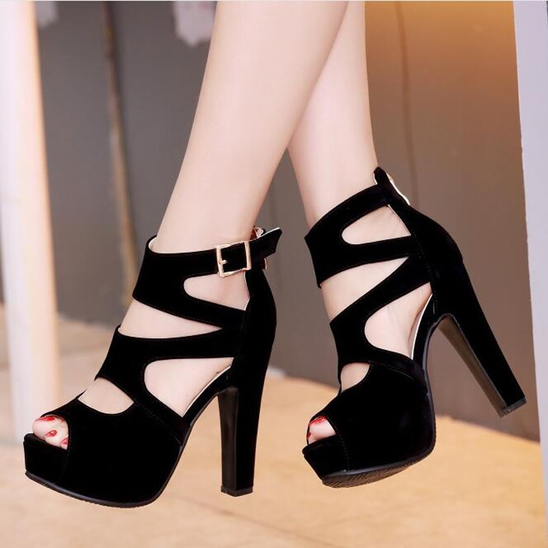 Verano sexy super tacón alto mujeres Zapatos negro punta abierta Roma negro mujeres sandalias C341