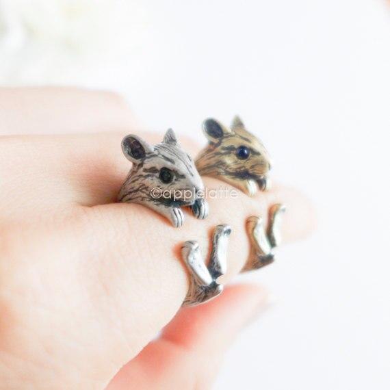 Cxwind antiguo bronce antiguo latón nudillo hámster anillo medio dedo Boho Chic ratones animales anillos para hombres mujeres regalo abierto anillos