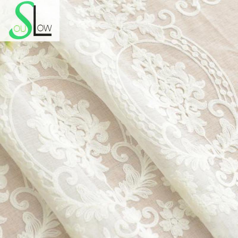 Slow Soul Blanco Europeo cortina de alta calidad Europa bordado Cortinas para sala de estar cocina dormitorio tul Cortinas pura