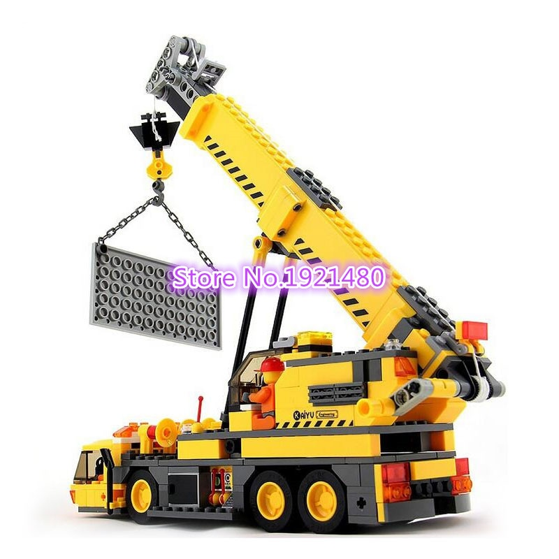 AIBOULLY 8045 grúa de construcción de ciudad conjuntos de bloques de construcción modelo KAIYU 380 Uds BULLDOZER educativo DIY ladrillos juguetes niños regalo