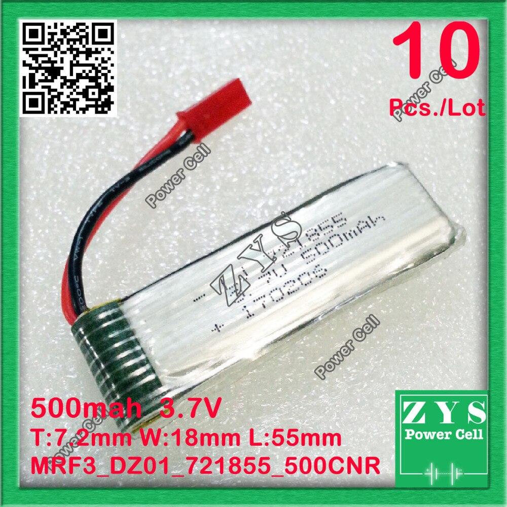 10 pcs./Lot Embalagem Da Segurança, 2 pinos 3.7 V bateria de Polímero de lítio 721855 500 mah para UAS Zona mini drone Drone UAV fpv 7.2x18x55mm