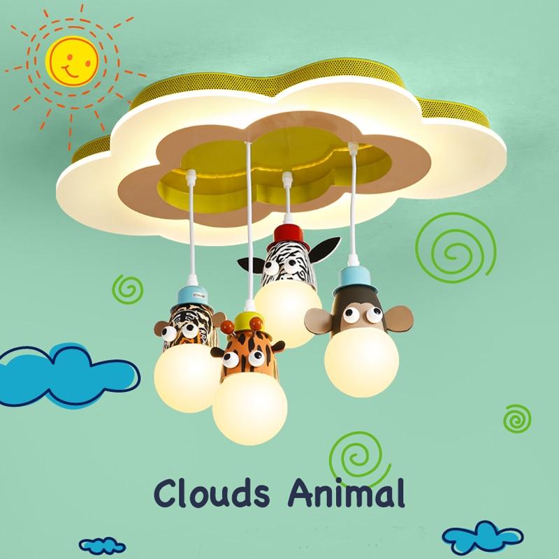 Simple moderna sala de niños lámpara colgante Creative nube historieta llevó luces colgantes dormitorio Nursery Kindergarten dibujos animados lámparas lustres e pendentes para sala lanparas de araña de cristal