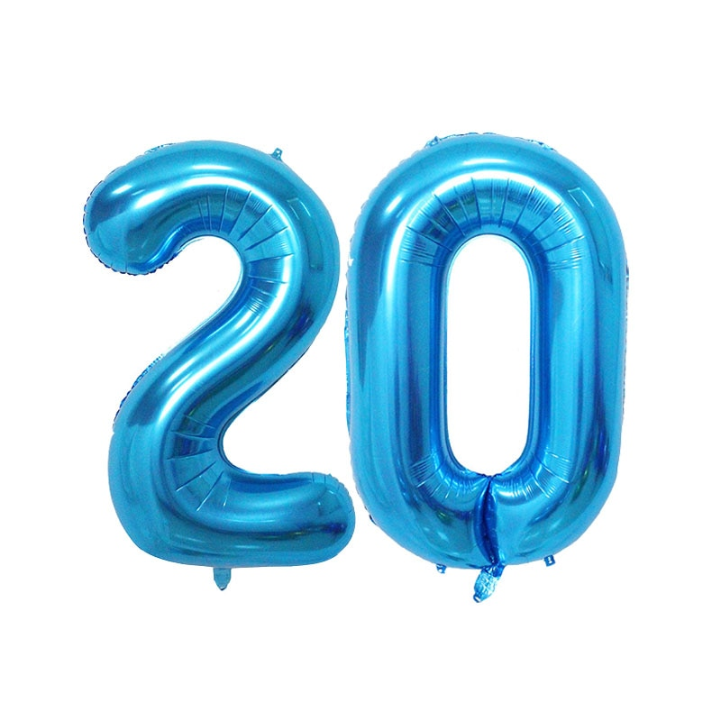 40 pulgadas rosa azul número plata oro globos de aluminio 20 decoraciones para fiesta de cumpleaños Digtal aire evento de globos provisiones para fiesta