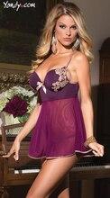Soutien Lingerie Sexy buste ouvert Push Up soutien-gorge tasse dos nu Satin chemise de nuit femmes broderie vêtements de nuit Slip dentelle sexe robe de nuit