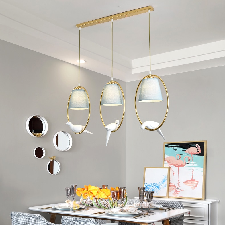 Encantadoras luces colgantes individuales para pájaros lámparas colgantes LED de tela Vintage pájaro de resina para cocina comedor
