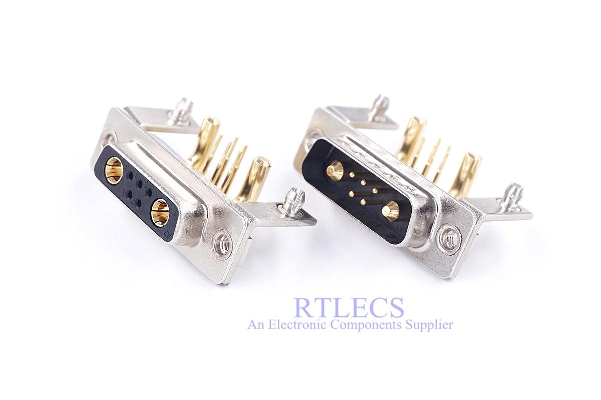 1 pièce haute intensité 30 Amp hybride d-sub connecteur 7w2 mâle femelle 5 + 2 puissance mixte Contact Angle droit avec support en métal