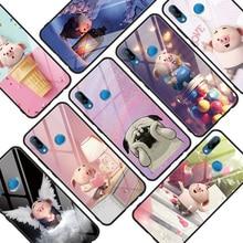 Luxe petits cochons verre trempé pour Huawei P30 Honor 8X 7A Play 9 vue 10 P10 P20 P9 Plus Mate 10 20 Pro Lite Y6 Y9 2019 étui