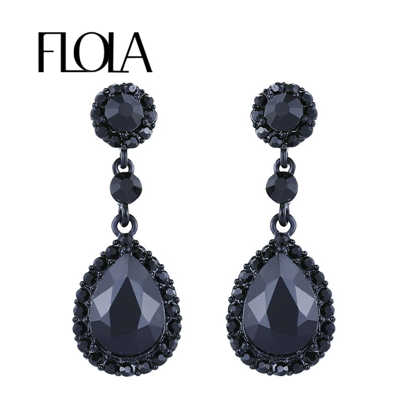 FLOLA Big Teardrop Crystal Hanging Long Earrings Black Chandelier Hanging Rhinestone Earrings Wedding Jewelry for Femme ersg53