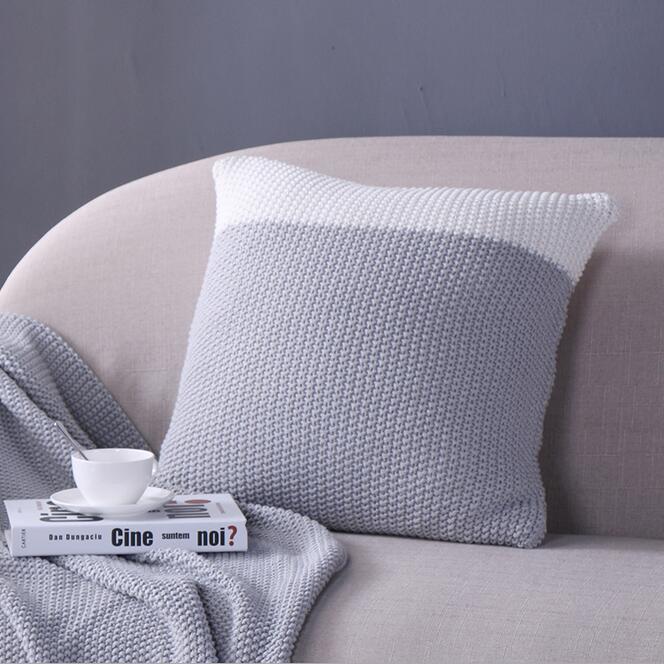 45*45cm gris blanco de lana tejida funda de cojín para respaldo sofá cálido de lana funda de almohada decorativa funda de almohada hogar