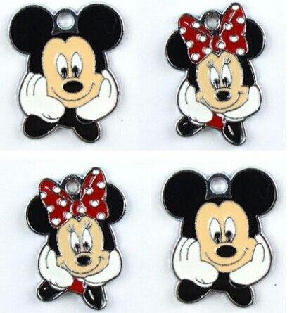 Lote de 50 colgantes redondos de dibujos animados de Minnie Mickey D186