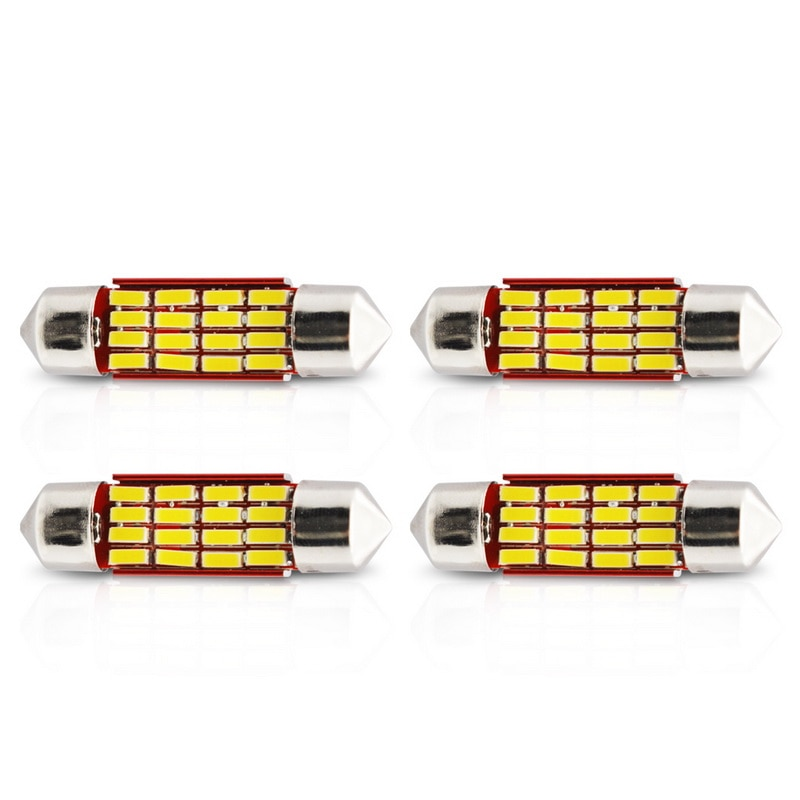 4 Uds Safego 31mm 36mm 39mm 41mm LED COCHE adorno 4014 Canbus 12 16 20 SMD LED cúpula de las luces de lectura bombillas 12V Super brillante