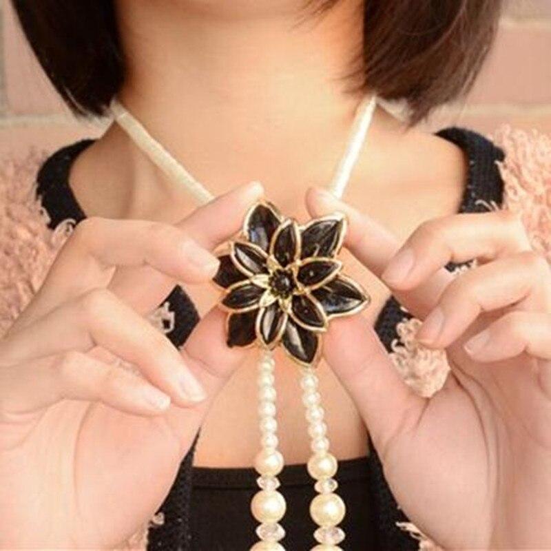 2020 elegante feminino jóias simulado pérola lótus longo colar feminino presentes de casamento nupcial acessórios camisola corrente