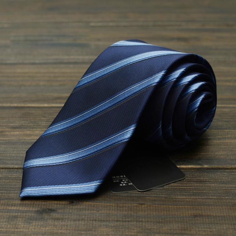 2019 New Profession Men Polyester Leisure Business Ties Blue England Stripes Necktie Classic Wedding Party Tie 7cm Width Gravata