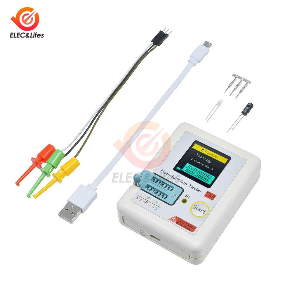 TC-T7-H TFT gráfico LCD comprobador de transistores digital NPN/PNP diodo triodo capacitancia resistencia medidor IR receptor multímetro T7