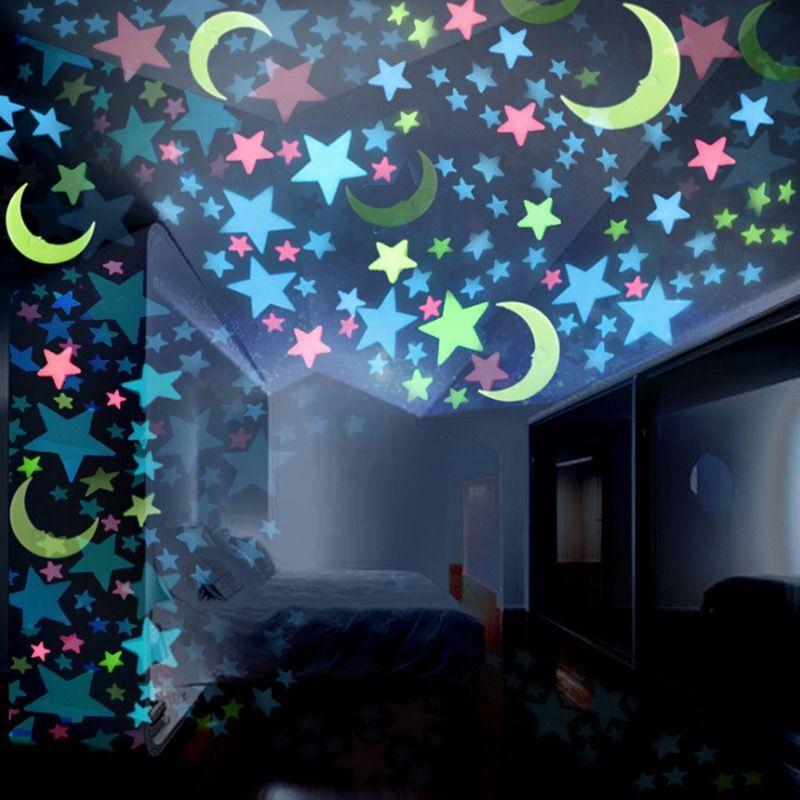 100pcs set fluorescent stars glow in the dark toys for children s bedroom decoration baby kids glow pentagram adhesive stickers 100 pcs/set DIY 3D Stars Moon Glow In The Dark Luminous Fluorescent Meteor Plastic Stickers Decals Toys for Baby Kids Bedroom