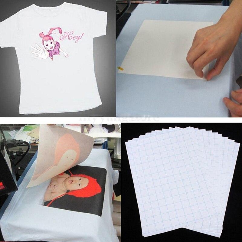 10 Uds A4 tamaño Camiseta estilo Inkjet transfer papel Oficina periódico impresión papel para telas de Color claro suministros
