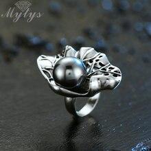 Mytys grand noir perle anneau Antique vieux Thai argent Punk anneaux rétro Vintage bijoux mode Cocktail fête anneau pour les femmes R2032