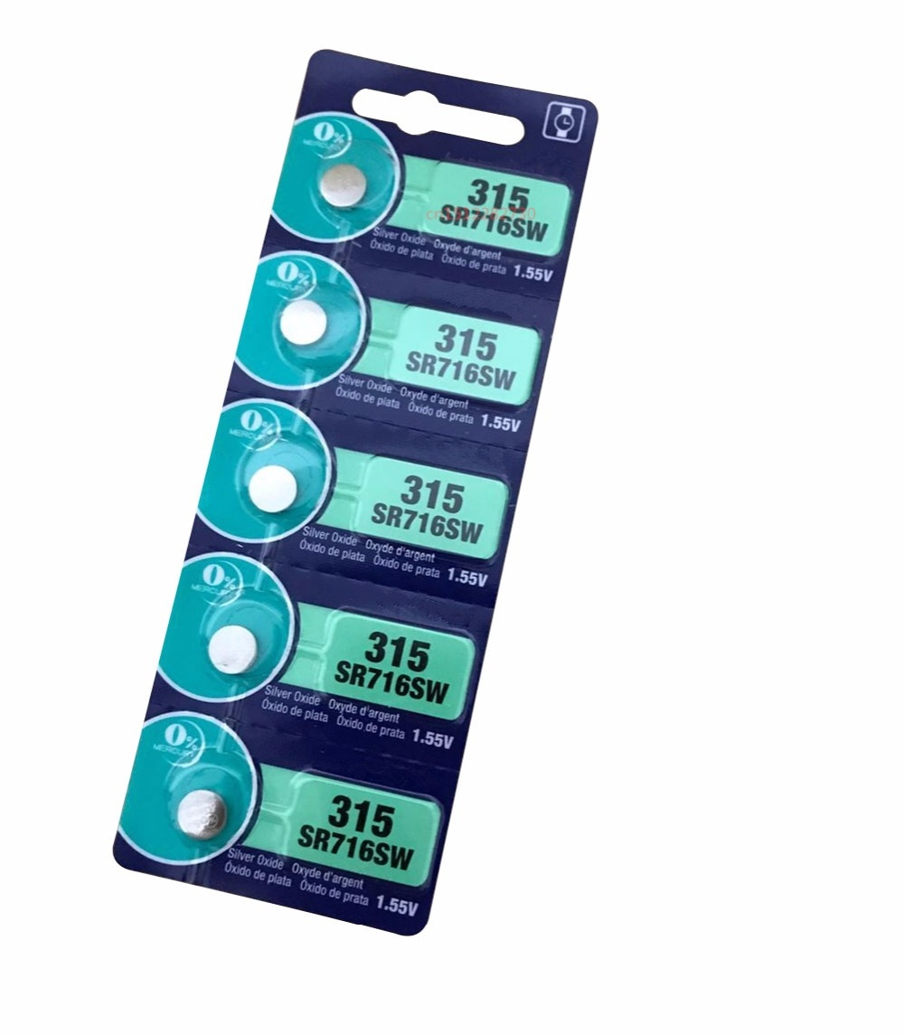 5pcs 315 SR716 SR716SW EP2012 D315 Cell Button Batteries Silver Oxide for men ladies children watches retail card