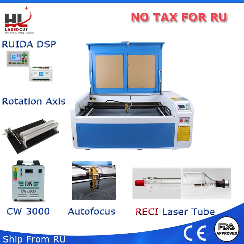 Máquina de corte por láser Autofocus USB Co2 100W, sin impuestos, con sistema DSP, cortador láser, Enfriador de 1000x600mm