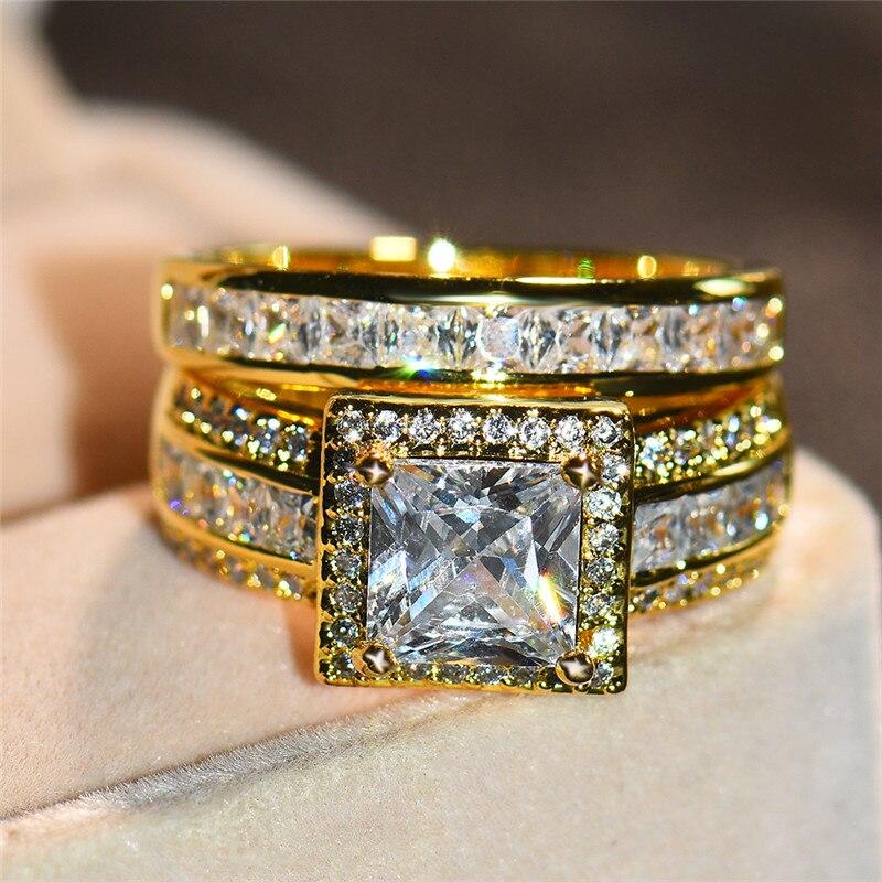 Anillo de compromiso para mujer, de lujo, apilable, Color dorado, cristal, compromiso