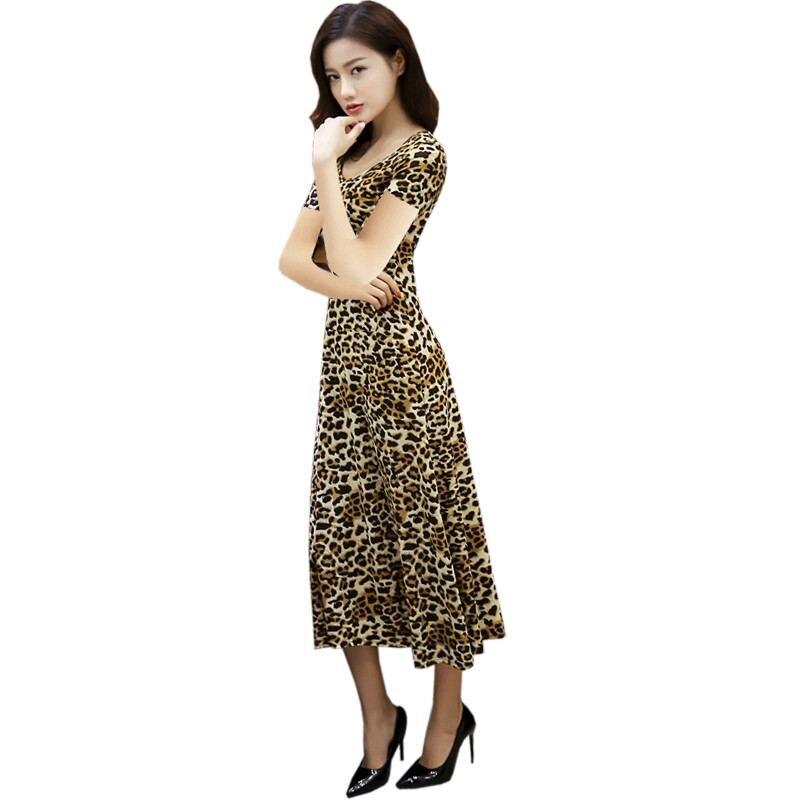 2019 verano mujeres leopardo estampado drapeado vestido femenino una línea elegante cuello redondo Midi Vestidos señora OL de talla grande Vintage Vestidos Z490