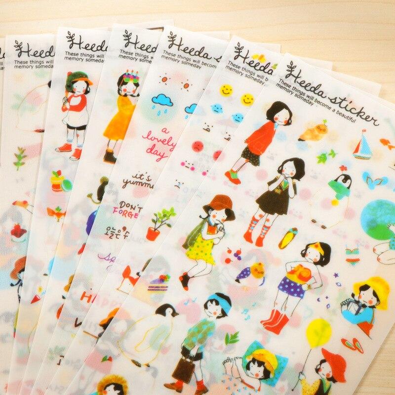 6 листов/упаковка, бумажные наклейки для скрапбукинга в Корейском стиле