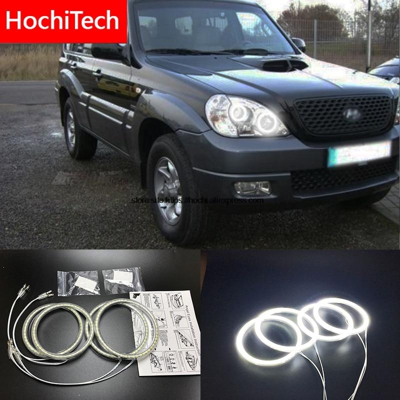 HochiTech for Hyundai Terracan 2001-07 Ultra bright SMD white LED angel eyes 2600LM 12V halo ring kit daytime running light DRL