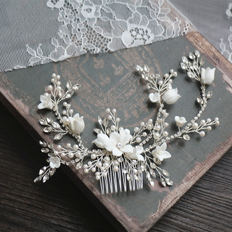 Flor de prata cor do cabelo nupcial pente jóias casamento festa headbands noiva vintage hairwear jóias acessórios