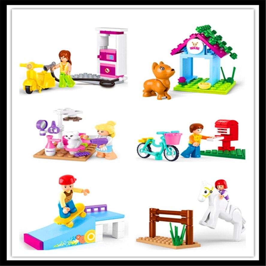6Pcs/Set Skateboard Boy Dog House Letter Box Pet Beauty Horse Gas Station Building Block Toys For Children Constuction