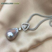 Triangle chaud zircon baroque perle gris gris pendentif collier nucléé flameball forme Durable ajuster la chaîne
