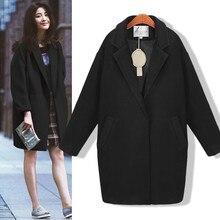 Nouveau printemps automne femmes manteau grande taille mode lâche col rabattu poche solide laine mélanges manteau pour les femmes vêtements dextérieur Plus grandes