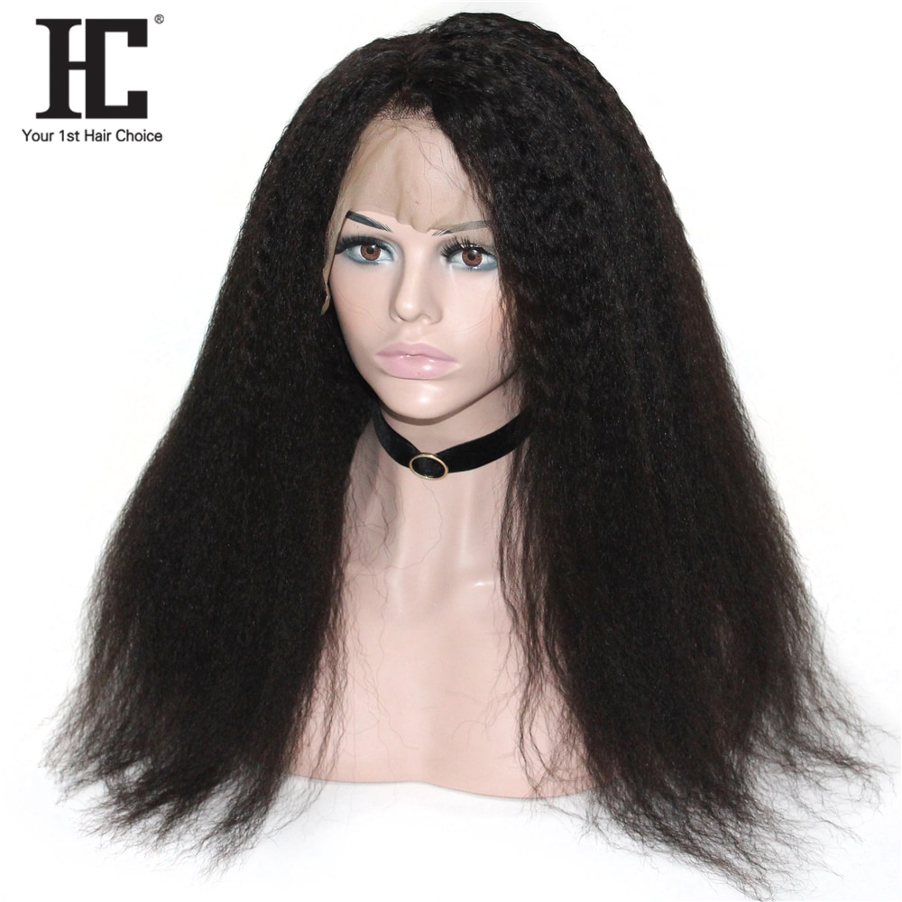 360 Lace Frontal Human Hair Wigs For Women Glueless 180% Pre Plucked Malaysian 360 Lace Frontal Wig Kinky Straight Remy HC