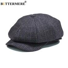 Papillon hommes Plaid plat béret casquette laine gris hiver automne Vintage gavboys chapeaux mâle britannique Cabbie octogonale Gatsby casquettes