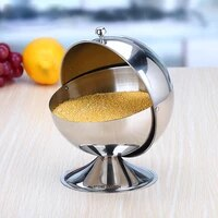 stainless steel seasoning container salt sugar serving bowl condiment jar with rotatable lid ball shaped condiment container