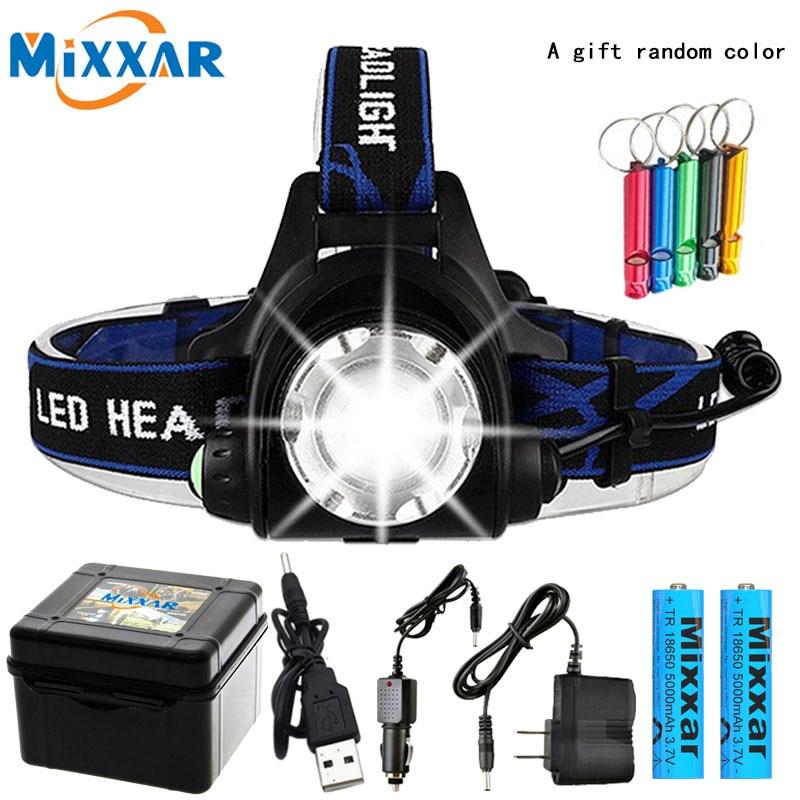 Dropshipping led head light farol led v6/l2/t6 zoom farol tocha lanterna lâmpada de cabeça 2*18650 bateria por pesca lanterna