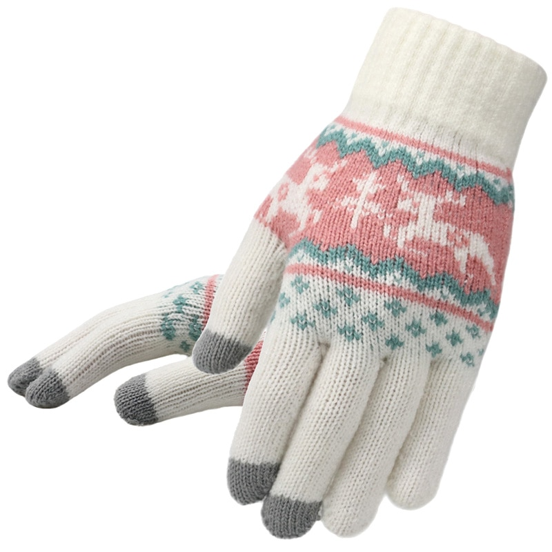 Зимние женские вязаные перчатки с рождественским оленем, модные женские перчатки с полным покрытием, мягкие вязаные перчатки с рождественским рисунком и сенсорным экраном