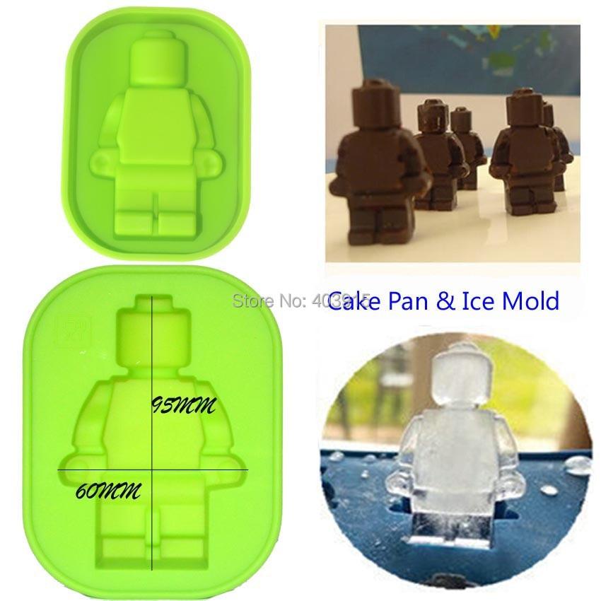 O Envio gratuito de 400 pçs/lote multifuncional GRANDE Homem Robô Minifigure Silicone Ice mold & Baking Pan Bolo de Chocolate Ice mold