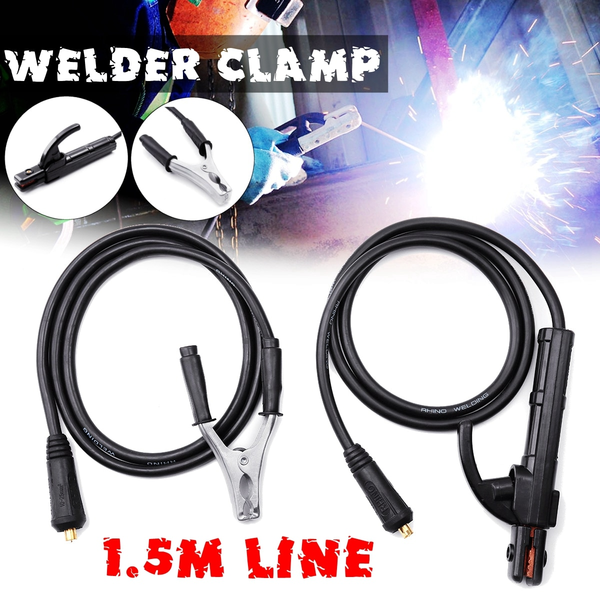 2 Pcs 300A 1.5M Electrode Holder Stick Welders /Ground Clamp Set  Welding Rod Stinger Clamping Tool