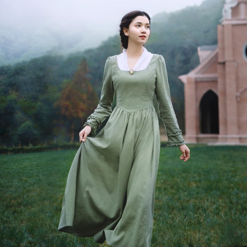 vestido Spring Autumn Women Vintage V-Neck Long Sleeve Elegant Slim Linen Princess Laciness Light Green Long Dress sukienki