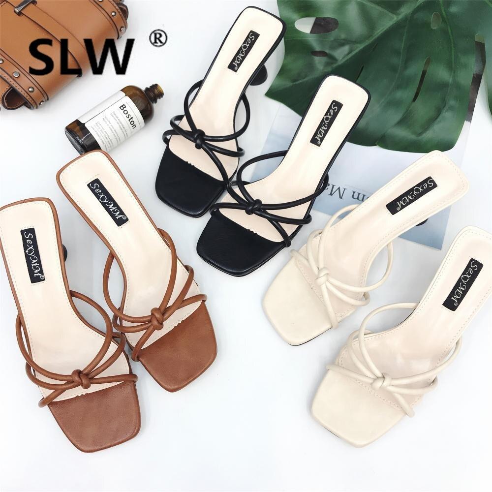 Banda estreita de spike heels slides mulher sandálias plataforma da marca de estilo coreano senhoras cortar chinelos mulher de salto alto do dedo do pé aberto