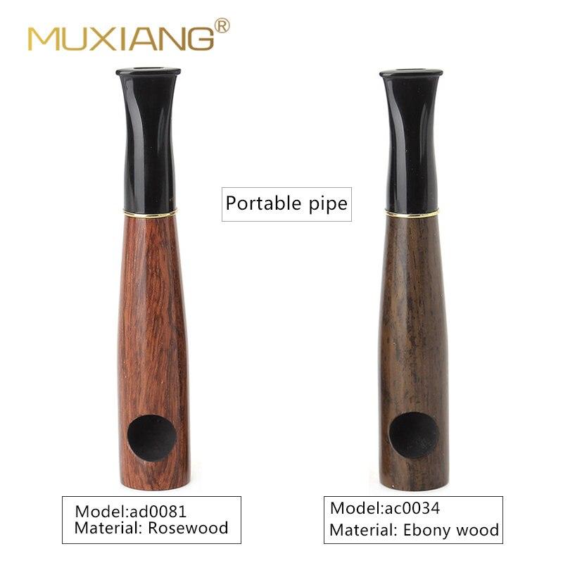 Pipa de madera para tabaco hecha a mano MUXIANG, pipa portátil pequeña con filtro de 9mm, Pipa para tabaco y cigarros ac0034/ad0081
